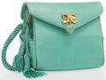 """Luxury Accessories:Accessories, Judith Leiber Green Karung Shoulder Bag with Gold Hardware. VeryGood Condition. 5"""" Width x 5"""" Height x 3"""" Depth, 18"""" Shou..."""