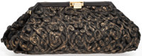 """Judith Leiber Black & Gold Wool Evening Bag with Gold Hardware Very Good Condition 10"""" Width x 5"""""""