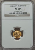 Commemorative Gold, 1922 G$1 Grant Gold Dollar, With Star, MS66+ NGC....