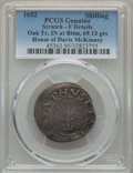 Colonials, 1652 SHILNG Oak Tree Shilling, IN at Bottom, 69.13 grs. -- Scratch -- PCGS Genuine. Fine Details...