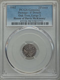 1662 2PENCE Oak Tree Twopence, Large 2, -- Damage -- PCGS Genuine. Fine Details. Ex: House of Davis McKinney. NGC Census...