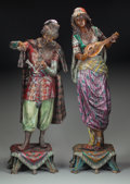 Sculpture, A Pair of Cold Painted Bronze Figures: Musicians. 32 inches (81.3 cm) high (tallest). ... (Total: 2 Items)