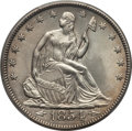 Seated Half Dollars: , 1854 50C Arrows MS63 PCGS. PCGS Population (27/43). NGC Census:(31/44). Mintage: 2,982,000. Numismedia Wsl. Price for prob...