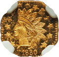 California Fractional Gold , 1880 50C Indian Octagonal 50 Cents, BG-954, Low R.4, MS65 ProoflikeNGC. NGC Census: (7/5). ...