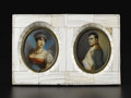 Decorative Arts, French:Other , A Pair of Framed Ivory Miniatures of Napoleon and Josephine. .Dupre, French. 19th Century. Ivory. Signed: Dupre. 5.5 in...