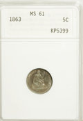 Seated Half Dimes, 1863 H10C MS61 ANACS....