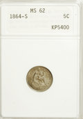 Seated Half Dimes, 1864-S H10C MS62 ANACS....
