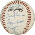 Autographs:Baseballs, 1990 St. Louis Cardinals Team Signed Baseball. The ONL (White)baseball hosts the 1990 St. Louis Cardinals team signatures....