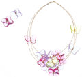 Luxury Accessories:Accessories, Baccarat Set of Two; Pink, Blue & Green Glass 18K GoldButterfly Necklace and Blue and Pink Glass 18K Gold FlowerEarrings. ...