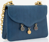 """Judith Leiber Blue Karung & Gold Charm Shoulder Bag Good to Very Good Condition 5"""" Width x 4"""" He"""
