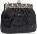 """Luxury Accessories:Accessories, Judith Leiber Shiny Black Karung & Silver Crystal Evening Bagwith Silver Hardware. Very Good Condition. 7"""" Width x 6""""Hei..."""