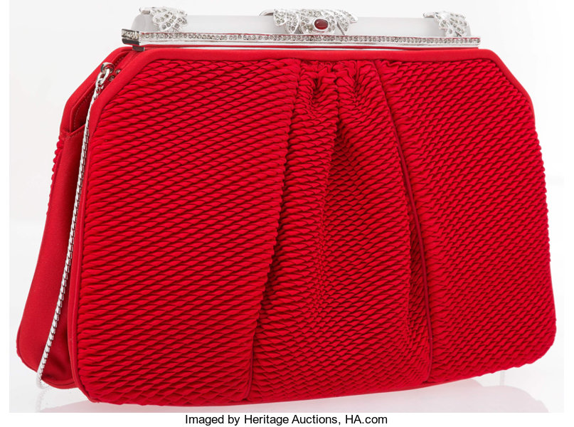aace2dd73e Judith Leiber Red Satin & Silver Crystal Evening Bag | Lot #19076 ...