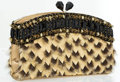 """Luxury Accessories:Accessories, Judith Leiber Metallic Gold Leather, Fur & Beaded Evening Bagwith Gold Hardware. Very Good to Excellent Condition. 8""""Wid..."""