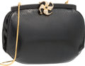 """Luxury Accessories:Bags, Judith Leiber Black Karung Evening Bag with Floral Clasp. VeryGood to Excellent Condition. 7"""" Width x 5.5"""" Height x2..."""