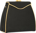 "Luxury Accessories:Bags, Judith Leiber Black Satin Evening Bag with Gold Hardware. VeryGood to Excellent Condition. 5.5"" Width x 5"" Height x2..."