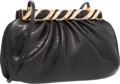 "Luxury Accessories:Bags, Judith Leiber Black Karung Evening Bag with Crystal Clasp. VeryGood Condition. 9.5"" Width x 6"" Height x 1"" Depth. ..."