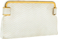 "Judith Leiber White Chevron Quilted Leather Evening Bag Good Condition 12"" Width x 7"" Height x 1"