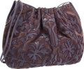 """Luxury Accessories:Bags, Judith Leiber Purple Suede and Karung Embroidered Shoulder Bag .Very Good to Excellent Condition. 15"""" Width x 11""""Hei..."""