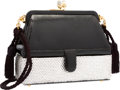 """Luxury Accessories:Bags, Judith Leiber Black Lizard & Silver Crystal Evening Bag.Excellent Condition. 6"""" Width x 5"""" Height x 2.5""""Depth. ..."""