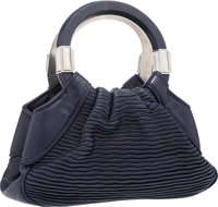 "Judith Leiber Navy Blue Leather Tote Bag with Silver Accented Handles Very Good Condition 11.5"" W"