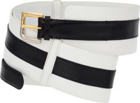 Judith Leiber Black & White Karung Belt with Gold and Silver Hardware Good to Very Good Condition