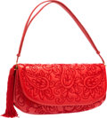 "Luxury Accessories:Accessories, Judith Leiber Red Lambskin Leather & Paisley EmbroideredShoulder Bag with Gold Hardware. 13"" Width x 7"" Height x 1.5""Dep..."