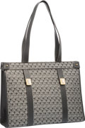 "Luxury Accessories:Bags, Judith Leiber Gray Patterned Canvas Tote Bag. Very Good toExcellent Condition. 16"" With x 12"" Height x 4"" Depth...."