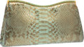 """Luxury Accessories:Bags, Judith Leiber Metallic Gold & Teal Python Clutch Bag.Excellent Condition. 11"""" Width x 5.5"""" Height x 2""""Depth. ..."""