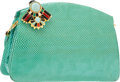"Luxury Accessories:Bags, Judith Leiber Turquoise Karung Amulet Evening Bag. Good to VeryGood Condition. 9"" Width x 6"" Height x 2.5"" Depth. ..."