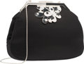 """Luxury Accessories:Bags, Judith Leiber Black Satin Evening Bag. Excellent Condition.8"""" Width x 5.5"""" Height x 2"""" Depth. ..."""