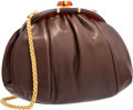 "Luxury Accessories:Bags, Judith Leiber Brown Leather Shoulder Bag. Very GoodCondition. 11"" Width x 8"" Height x 4"" Depth. ..."