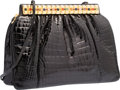 "Luxury Accessories:Bags, Judith Leiber Shiny Black Alligator Evening Bag. Very GoodCondition. 9"" Width x 7"" Height x 3"" Depth. ..."