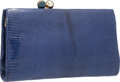 """Luxury Accessories:Accessories, Judith Leiber Blue Lizard Clutch Bag with Gold Hardware. 9"""" Width x 5.5"""" Height x 1"""" Depth. Good to Very Good Conditio..."""