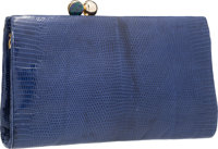"Judith Leiber Blue Lizard Clutch Bag with Gold Hardware 9"" Width x 5.5"" Height x 1"" Depth Good to"