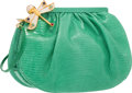 "Luxury Accessories:Bags, Judith Leiber Green Ruched Lizard Dragonfly Evening Bag. VeryGood to Excellent Condition. 8.5"" Width x 6"" Height x3""..."