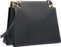 """Luxury Accessories:Bags, Judith Leiber Navy Blue Leather Shoulder Bag. GoodCondition. 10"""" Width x 8"""" Height x 3.5"""" Depth. ..."""