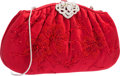 "Luxury Accessories:Bags, Judith Leiber Red Silk Beaded Floral Evening Bag. Good to VeryGood Condition. 9"" Width x 5"" Height x 2"" Depth. ..."