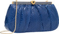 "Luxury Accessories:Bags, Judith Leiber Blue Python Heart Evening Bag. Very Good toExcellent Condition. 8.5"" Width x 5"" Height x 1.5""Depth. ..."