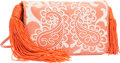 """Luxury Accessories:Accessories, Judith Leiber Salmon Karung & White Embroidered Shoulder Bagwith Tassels. 7"""" Width x 4.5"""" Height x 1.5"""" Depth. Goodt..."""