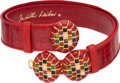 "Luxury Accessories:Accessories, Judith Leiber Shiny Red Alligator & Leather Belt with GemstoneBuckle. Very Good Condition. 1.5"" Width x 38""Length..."