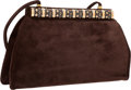 "Luxury Accessories:Accessories, Judith Leiber Brown Suede & Multicolor Stone Shoulder Bag withGold Hardware. 9"" Width x 6"" Height x 2.5"" Depth .Very..."