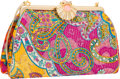"""Luxury Accessories:Bags, Judith Leiber Multicolor Brocade Evening Bag with Seashell Closure.Excellent Condition. 9.5"""" Width x 6"""" Height x 2.5""""..."""