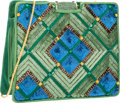 "Luxury Accessories:Accessories, Judith Leiber Green & Blue Sequin, Crystal, and Satin ShoulderBag with Gold Hardware. 6.5"" Width x 6"" Height x 2"" Depth..."