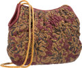 """Luxury Accessories:Bags, Judith Leiber Red Floral Leather Shoulder Bag with Gold Hardware. Very Good to Excellent Condition. 12"""" Width x 10"""" He..."""