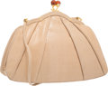 "Judith Leiber Beige Pleated Karung Evening Bag Excellent Condition 10"" Width x 7.5"" Height x 2.5"