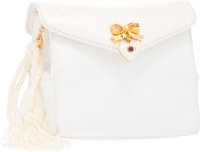 "Judith Leiber White Karung Shoulder Bag with Gold Hardware Good Condition 5"" Width x 5"" Height x"