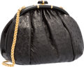 "Luxury Accessories:Bags, Judith Leiber Black Ostrich Evening Bag. Very Good to ExcellentCondition. 11"" Width x 7"" Height x 5"" Depth. ..."