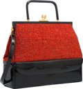 "Luxury Accessories:Accessories, Judith Leiber Red Tweed & Black Patent Leather Top Handle Bagwith Gold Hardware. Good Condition. 12"" Width x 10""Heig..."