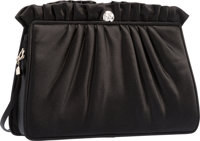 "Judith Leiber Black Ruched Satin Evening Bag Excellent Condition 9"" Width x 6"" Height x 2.5"" Dept"