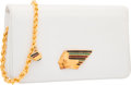 "Luxury Accessories:Bags, Judith Leiber White Lambskin Leather Native American Evening Bag.Good to Very Good Condition. 8"" Width x 5"" Height x..."